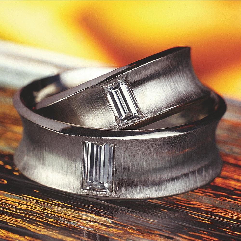 Snubní prsteny z platiny osázené diamanty