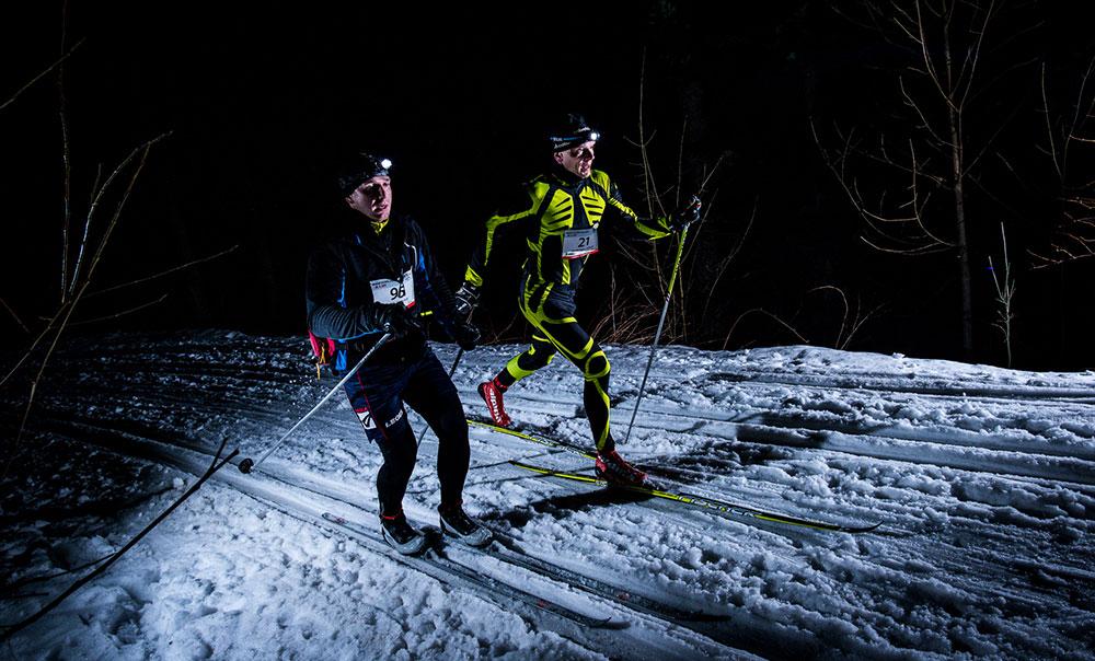 Noční běžkování v Beskydech